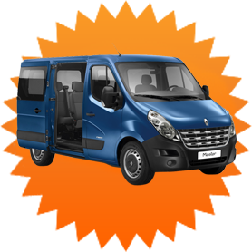 9 sitzer gro raum bus renault master vw caravelle lang version. Black Bedroom Furniture Sets. Home Design Ideas
